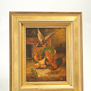 Bird and Rooster Painting, c. 1880, with Gold-Colored Frame
