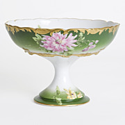 Limoges, Hand-Painted, Green Floral Bowl, c. 1885