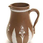 "5"" Tall Brown and White Floral Jasperware Pitcher"