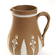 "6"" Tall Brown and White Jasperware Floral Pitcher"