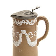 Brown & White Jasperware Coffee Pitcher w/ Lion Head Design, c. 1840