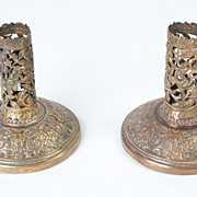 Twin Brass English Candlesticks, c. 1890, with Felt Bottom