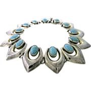 Gorgeous Vintage Turquoise Cabochon and Sterling Silver Necklace