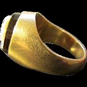 Heavy Eighteen Karat Gold and Onyx Cameo Ring