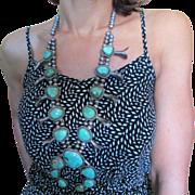Huge Vintage Native American Turquoise Squash Blossom Necklace