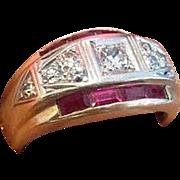 SALE PENDING Retro Diamond and Ruby Ring in Fourteen Karat Gold