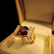 Big Rhodolite Garnet Round Cut Solitaire Ring in 14 Karat Gold
