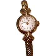 1958 Bulova 14K Solid  Gold Ladies Wristwatch Solid Gold Band 7""