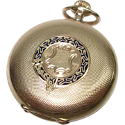 1890's Billodes 14Kt Gold Enameled Hunter Case Pocket Watch