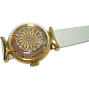 Vintage Ernest Borel Ladies Brown Kaliedoscope Cocktail Wristwatch Skeleton View Back