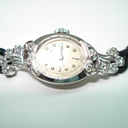 Vintage Ladies 14 Karat Gold Diamond  Wittnauer Wristwatch