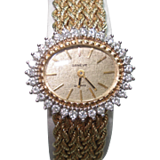 14Kt Gold Geneve Diamond Bezel Ladies Wristwatch Matching 14 kt Gold Bracelet Band