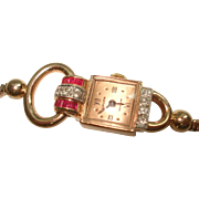 Vintage 14 Kt Rose Gold Ruby Diamond Wristwatch by Gruen