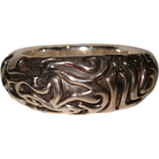 Sterling Silver Funky Design Niello Bangle Bracelet from Israel