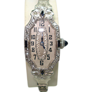 Art Deco Platinum Sapphire Diamond 18Kt Gold Ladies Wristwatch