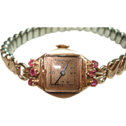 14 Kt Rose Gold Ruby Vintage Ladies Wristwatch