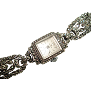 Bucherer by Rolex Ladies Vintage  Marcasite Mechanical Wristwatch