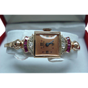 14 Kt Rose Gold Ruby Diamond Vintage Tourneau Mechanical Ladies Wristwatch