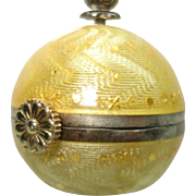 Antique Geneve Enamel Sterling Silver Yellow Guilloche Ball  Pendant Watch