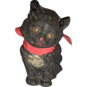 SOLD Black Cat Candy Container Papier Mache Tin Eyes c1920