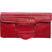 SOLD Fine Quality Red Leather Needlecase c1830