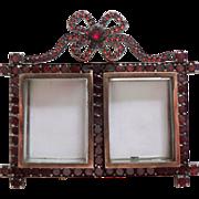 SOLD Miniature Garnet Double Photo Frame c1880