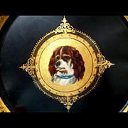 Hand Painted & Gilded Papier Mache Dog Plaque c1860
