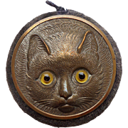 SOLD Figural Cat Pin Wheel With Mirror Back c1910