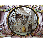 """SOLD 19th Century Dutch Stained Glass Panel """"The Doll Seller"""""""