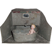 Unusual Tin Bathroom With Tub c1910
