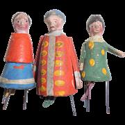 Three Spinet Bristle German Wooden Doll c1890