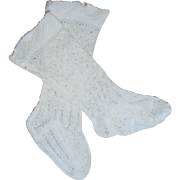 Antique Fancy Socks For Wax Doll c1880