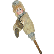 SOLD Belton Type Bisque Marotte With Cymbals Novelty Doll c1890