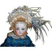SOLD Pretty Ruffled Feathered Bonnet For Antique Doll