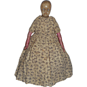 Early Poured Wax Doll In Print Dress c1840