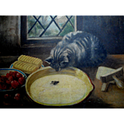 SOLD Charming Oil Painting Patient Cat & Swimming Mouse c1900