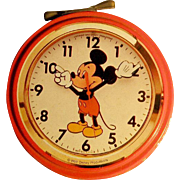 Incredibly Charming early 1950's Rare Mickey Mouse German Clock shaped Tin