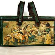 1938 Vintage Snow White tin basket