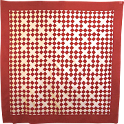 20th Century Red and White Quilt Top