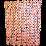 Vintage  Flour Sack  Pieced Quilt in Pinwheel Pattern.