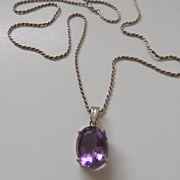 Large Amethyst Glass Necklace With Silver Chain