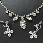Weiss Rhinestone Necklace Plus Pair Of Earrings