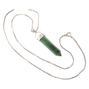 Green Crystal Pendant With Sterling Silver Chain