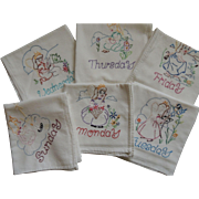 6 Embroidered Days Of The Week Towels