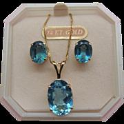 Blue Topaz Pendant Necklace Earrings 14K Gold