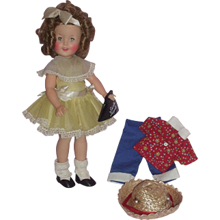 """Ideal 1950's 12"""" Shirley Temple Doll in Yellow Visiting Dress"""