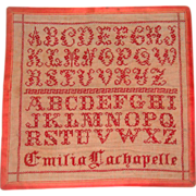 Early 19th century alphabet sampler finely work by Emilia Larchapelle