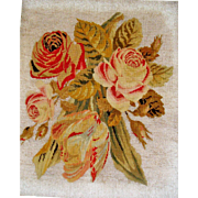 SOLD Superb Victorian  bead work and needle point picture with roses