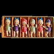 Cutest ever 6 all bisque kewpie type dolls
