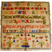 Colourful Victorian sampler dated 1894